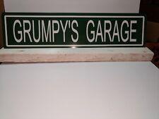 "Metal Street Sign ""Grumpy's Garage"" 6""x24""  Man Cave Garage Great Gift 41069"
