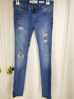 Hollister Womens sz 3R Medium Blue Wash Distressed Jeans  Low Rise Super Skinny