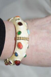 Kenneth Jay Lane KJL Jeweled BANGLE White Enamel Hinged Bracelet