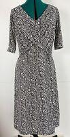 Perri Cutten Chain Link All Over Print Cross Front Midi Dress Corporate Size M