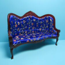 Dollhouse Miniature Victorian Couch Blue Floral Fabric and Mahogany CLA10092