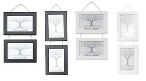Double Photo Picture Frame Wall Hanging with Metal Chain Black or White