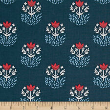 Dear Stella Snowfall  Folk Foulard Navy Fabric By the Yard   Bfab