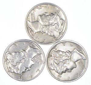 Lot of 3 AU/Unc 1941, 1944, 1941-S Mercury Dimes 90% Silver Collection *251
