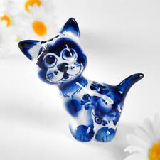 Figurine Chat miniature en porcelaine Gzhel - Chaton collection porcelaine peint