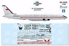 Revaro Decal Tu-114 prototype for Veb Plasticart model kit 1/100