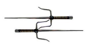 """Set of 2 18"""" Chrome Ninja Sai w/ Leather Wrapped Handle"""