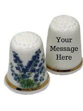 BN Personalised Bluebell Thimble, Fine Bone China Collectable Thimble