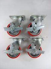 "4"" x 2"" Polyurethane On Cast Iron (Red) - Swivel with Brake (4EA)"