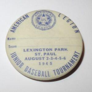 1945 Baseball Pin St Paul Minnesota American Legion Junior Tournament Pinback