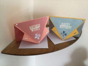 PACK OF 2  HAND MADE ENVELOPE SHAPE BIRTHDAY CARDS./GA/3434