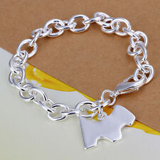 "Fashion 925Sterling Silver Jewelry Dog Tag Women Chain Bracelet 8"" FH271+BOX"