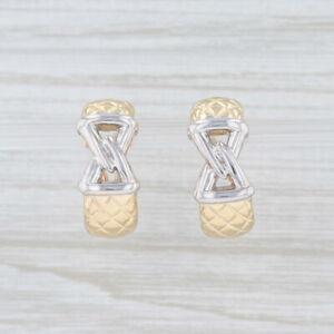 Cross Hatch Knot Half-Hoop Earrings 2-Toned 14k Yellow White Gold Pierced