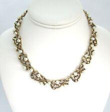 Kramer Gold Tone Necklace w Aurora Rhinestones / Costume Pearls