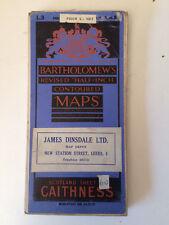 RARE ANTIQUE CONTOURED BARTHOLOMEWS SURVEY MAP OF CAITHNESS SCOTLAND