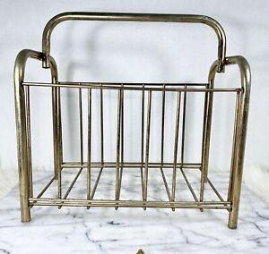 """Vintage Brass Magazine Rack Holder MCM 12"""" Metal Gold Book Organizer Mid Century"""