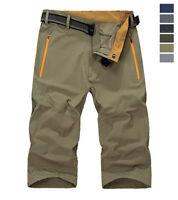 Men's 3/4 Below Knee Quick Drying Hiking Pants Waterproof Casual Cargo Shorts