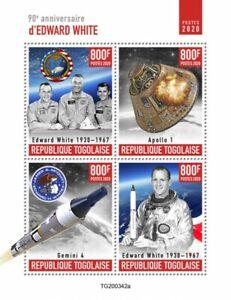 Togo Space Stamps 2020 MNH Edward White Apollo 1 Gemini 4 Famous People 4v M/S