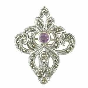 Sterling Silver Brooch Fancy Amethyst and Marcasite New