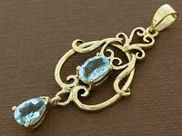 PE040- SUPERB 9ct SOLID Gold NATURAL Topaz Filigree Pendant Victorian Scrolls