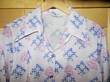 Vintage Mod Women's Pink Rose Floral Polyester Long Sleeve Disco Blouse XL