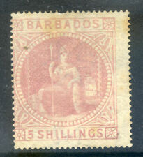 Barbados 1877 5sh Britannia mint faded and small part og (2020/03#23#02)
