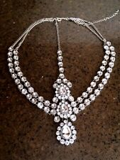2 layer diamante goddess bridal boho prom birthday head chain hair grecian