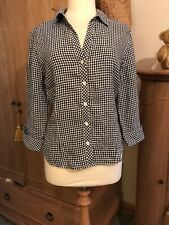 JAEGER UK16 BLACK & WHITE CHECK GINGHAM TOP BLOUSE EXCELLENT CONDITION LINEN