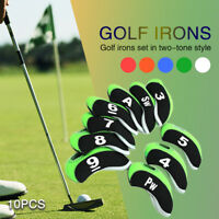 10 PCS Neoprene Golf Iron Head Covers Club Putter Headcovers 3-SW Set Black US