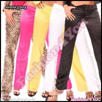 Sexy Women's Satin Trousers Ladies Business Office Pants Size 8,10,12,14 UK
