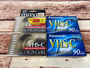 VHS-C Blank Tape Lot 4 Maxell TC-30 Panasonic TC-30 Brand New Sealed
