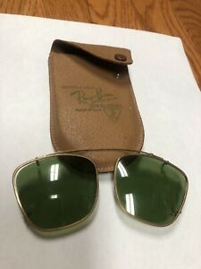 Vintage Ray Ban G-15 Clip On Sunglasses With Case Bausch & Lomb Made In USA