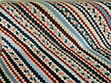 "Vintage Afghan Crochet Handmade Blanket 43"" x 63"" Diagonal Stripes"