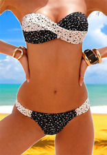 Super Sexy Push Up Twist Bandeau Bikini schwarz weiß