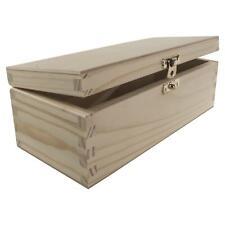 Oblong Wooden Box Lid & Clasp | 22.5 x 10 x 8 cm | Plain Decorative Pine Craft