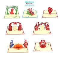 Love Pop Up Cards 7 Pcs 3D Birthday Mother Day Card Wedding Size open 22x18cm