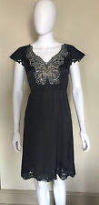 CUTE MEGHAN FABULOUS BLACK POLYESTER BEADED BUTTERFLY PARTY DRESS S?
