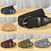 Men Women Braided Belt Woven Leather Covered Buckle Elastic Belt Casual Decor