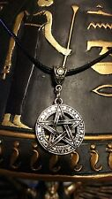 ☽✪☾ Wicca Pagan Silver Tone Pentagram Pendant Sim Leather Necklace 18""