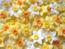 12 EASTER DAFFODILS Edible Sugar Flowers Cup Cake Decorations Toppers Wedding