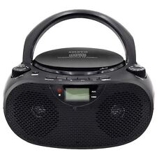 Radio Portatil Reproductor CD USB SD FM AM Radio Negro LCD Altavoz MP3 con Pilas