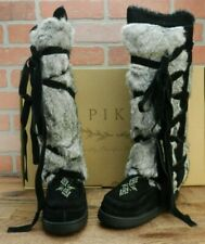 New Pika Tall Wrap Fur Strappy Suede Black Boots Bead Accent Size 7 M