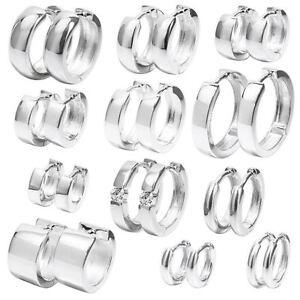 echt 925 Sterling Silber Klapp Creolen Rund oder Quadratisch Ohrringe glänzend