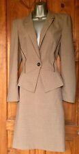 Next Beige Tweed Suit Peplum Jacket UK14 US10 EU40/42 Pencil Skirt UK12 US8 EU38
