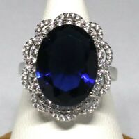 Sparkling 8 Ct Oval Blue Sapphire Ring Women Engagement Jewelry 14K White Gold