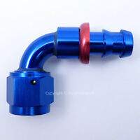 AN-6 AN6 JIC 90 Degree Swivel PUSH ON BARB Tail Fuel Oil Braided Hose Fitting