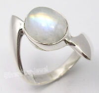 925 Pure Silver BLUE FLASH RAINBOW MOONSTONE MEN'S Ring Any Size BIRTHDAY GIFT