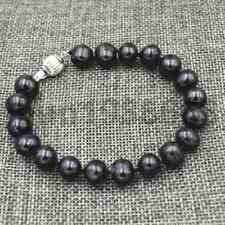 "New Natural 9-10 mm Akoya black TAHITIAN Pearl Bracelet Bangle 7.5"""