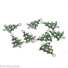10 Pendentifs Breloques Sapin de Noël Cadeau Émail Bijoux Création Vert26x18mm