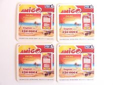 Dessous de verre carton Publicitaire Bar AMIGO FDJ  lot de 4  Réf 216